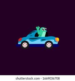Racing Team Car Cartoon Vector Design
