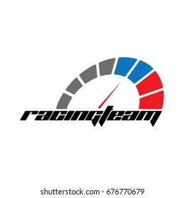 racing team logo template, for Racing competition, drift, motocross and more. with speedometer icon.