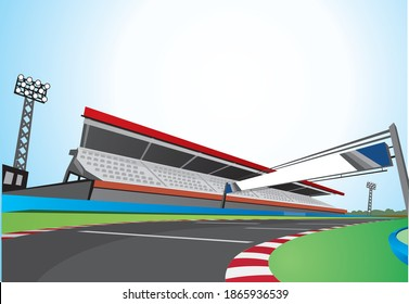 racing track at day vector background