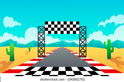 racing track. landscape. desert. vector illustration