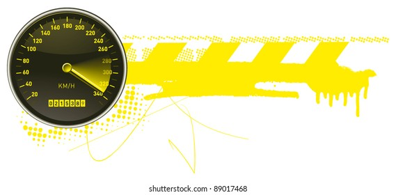 racing urban frame with speedometer