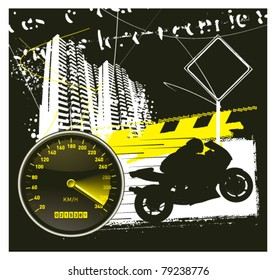 racing urban frame with speedometer and super bike