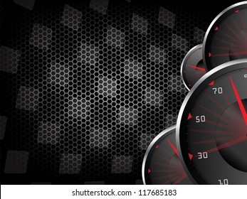 Racing vector vintage background with speed tachometers