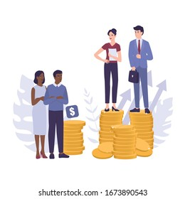 Racism concept. Discrimination and enequal treatment based on race. Businessman and businesswoman on piles of coins. Inequal payment and career problem of people of colors. Vector illustration