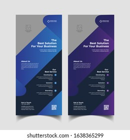 Rack card or Dl flyer template Vector. DL Corporate business template for flyer. Layout with modern elements and abstract background. Creative flyer concept vector.