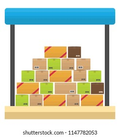 Rack filled with a symmetrical setting of boxes showcasing storage unit icon