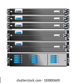 Rack, of five servers isolated