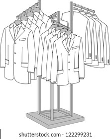 Rack with four arms for clothes