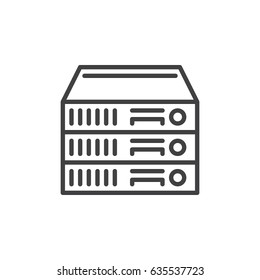 Rack Servers line icon, outline vector sign, linear style pictogram isolated on white. Symbol, logo illustration. Editable stroke. Pixel perfect