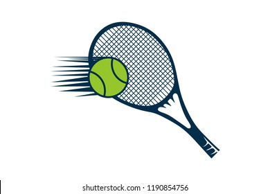 Racket and ball, Tennis Logo Designs Inspiration Isolated on White Background