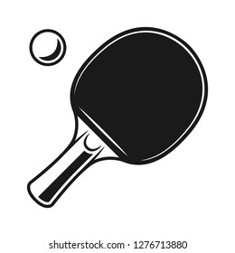 Racket for ping pong and ball vector monochrome objects or design elements isolated on white background