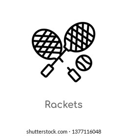 rackets vector line icon. Simple element illustration. rackets outline icon from summer concept. Can be used for web and mobile