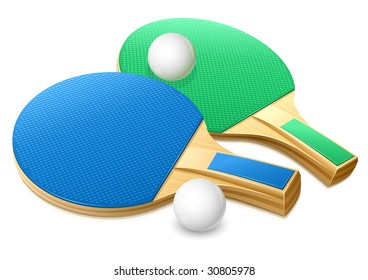 rackets and white balls for playing table tennis game - vector illustration