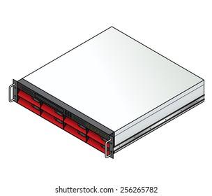 Rack-mount server component: a 2u blade server with 8 blades installed.