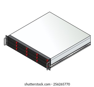 Rack-mount server component: a 2u storage / NAS (Network Attached Storage)  enclosure with 12 storage units installed.