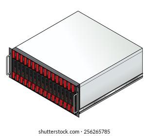 Rack-mount server component: a 4u blade server enclosure with 16 blades installed.