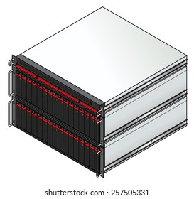 Rack-mount server components: a 1u storage controller with 2 3u storage enclosures with a total of 32 storage units installed.