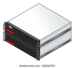 Rack-mount server components: a 2u UPS (uninterruptible power supply ) controller unit with a 3u battery unit.