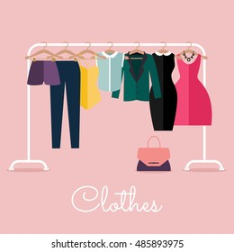 Racks with clothes on hangers. Flat design style modern vector illustration concept.