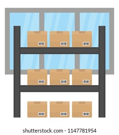 Racks embedded with carton packages, infographing godown icon