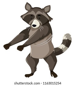 Racoon dancing white background illustration