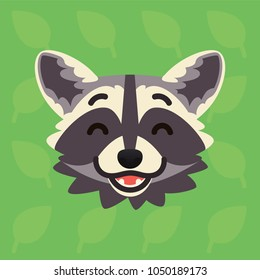 Racoon emotional head. Vector illustration of cute coon shows happy emotion. Laugh emoji. Smiley icon. Print, chat, communication. Grey raccoon in flat cartoon style on green background with leaves.