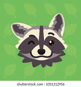 Racoon emotional head. Vector illustration of cute coon shows playful emotion. Blink eye emoji. Smiley icon. Print, chat, communication. Grey raccoon in flat cartoon style on green background. Wink.