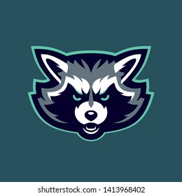 Racoon head character. Racoon sports mascot. Aggressive raccoon.