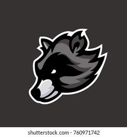 Racoon head character,  Racoon sports mascot