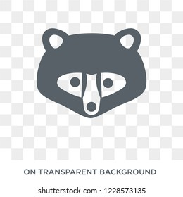 Racoon icon. Trendy flat vector Racoon icon on transparent background from animals collection. High quality filled Racoon symbol use for web and mobile