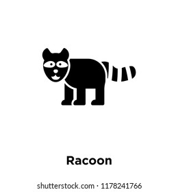 Racoon icon vector isolated on white background, logo concept of Racoon sign on transparent background, filled black symbol