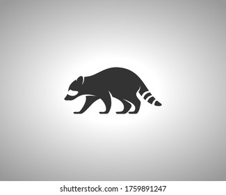 Racoon Silhouette on White Background. Isolated Vector Animal Template for Logo Company, Icon, Symbol etc