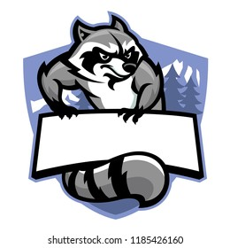 racoon in sport mascot style in set