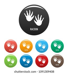 Racoon step icon. Simple illustration of racoon step vector icons set color isolated on white