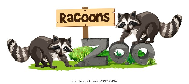 Racoons at the zoo sign illustration