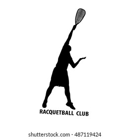 Racquetball player silhouette on white background. Vector image.