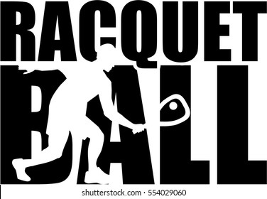 Racquetball word with silhouette