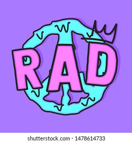 RAD PEACE SIGN MELT SLOGAN PRINT VECTOR
