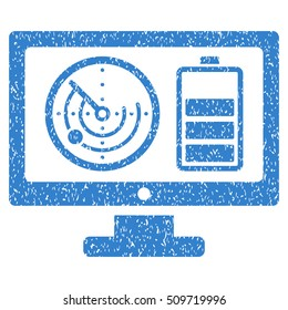 Radar Battery Control Monitor grainy textured icon for overlay watermark stamps. Flat symbol with dirty texture. Dotted vector cobalt ink rubber seal stamp with grunge design on a white background.