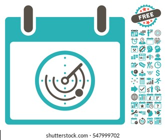 Radar Calendar Day icon with bonus calendar and time management symbols. Vector illustration style is flat iconic symbols, grey and cyan, white background.