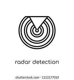 Radar detection icon. Trendy modern flat linear vector Radar detection icon on white background from thin line Nautical collection, editable outline stroke vector illustration