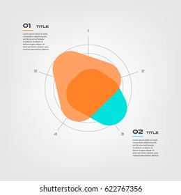 Radar diagram elements color infographics. Some of chart, graph, parts, processes. Vector business template for presentation. Can be used for workflow layout, diagram, banner, web design
