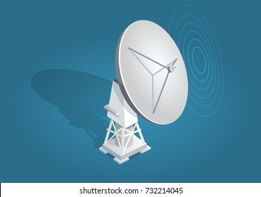 Radar dish satellites dish flat and shadow theme on blue background. Parabolic reflector antenna or radar dish antenna for broadcast and communication. Vector illustration of wireless technology.