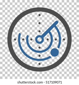 Radar EPS vector pictograph. Illustration style is flat iconic bicolor cobalt and gray symbol.