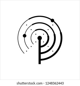 Radar Icon, Radio Waves Detection System Vector Art Illustration