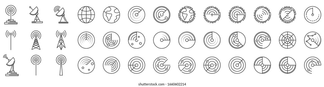 Radar icons. Set of Radar screen icons. Vector illustration. Radar linear icons isolated.