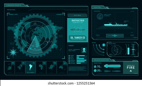 Radar interface, command center, game  ui, futuristic concept, marine, military
