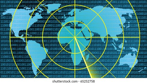 Radar over world map