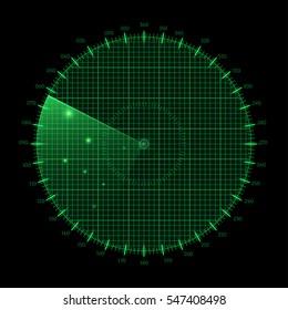Radar round screen, isolated on black. Vector illustration