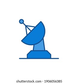 Radar Satellite Antenna vector concept colored blue icon or symbol